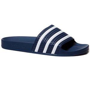 Adidas Adilette Navy Blue White Slides Size 5